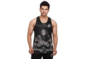 omtex Muscle Tanks For Men - Black Printed