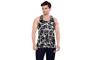 omtex Criss Cross Black - Sublimated Gym Tank