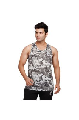 omtex Camo Sublimated Gym Tank for Men - Light Gray