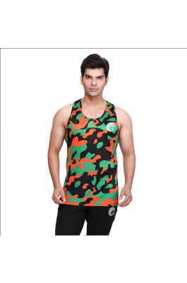 omtex Sublimated Army Gym Tank For Men - Multicolor