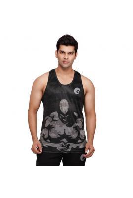 omtex Muscle Tanks For Men - Black Printed